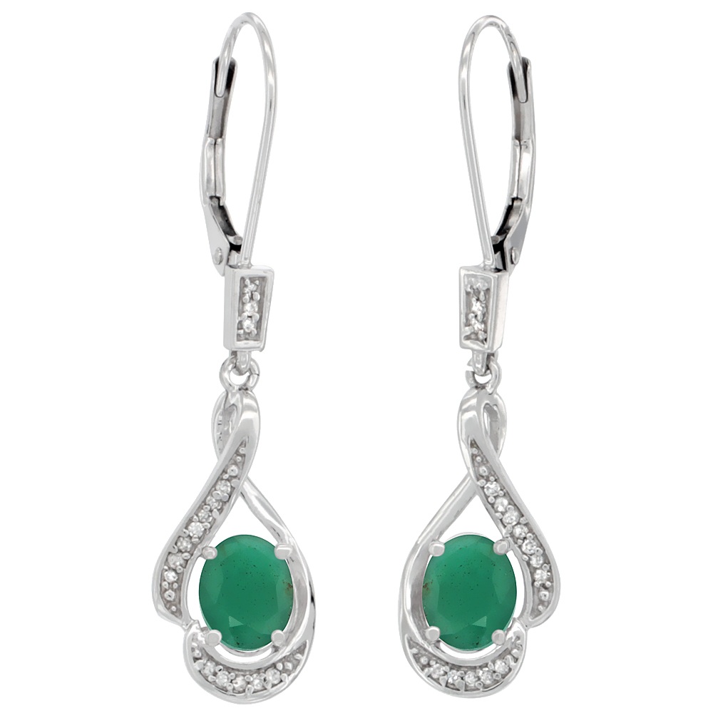 14K White Gold Diamond Natural Emerald Leverback Earrings Oval 7x5 mm, 1 7/16 inch long