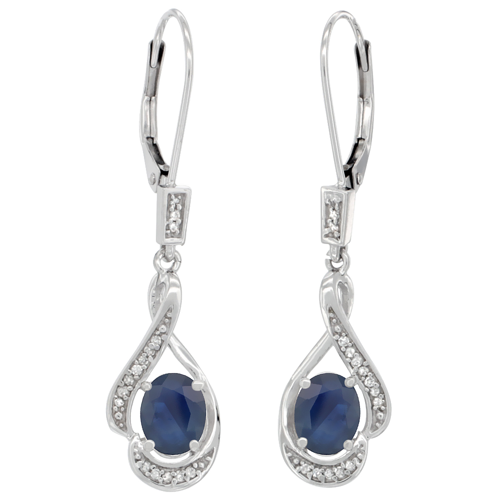 14K White Gold 0.13 cttw Diamond Natural Blue Sapphire Leverback Earrings Oval 7x5 mm, 1 7/16 inch long