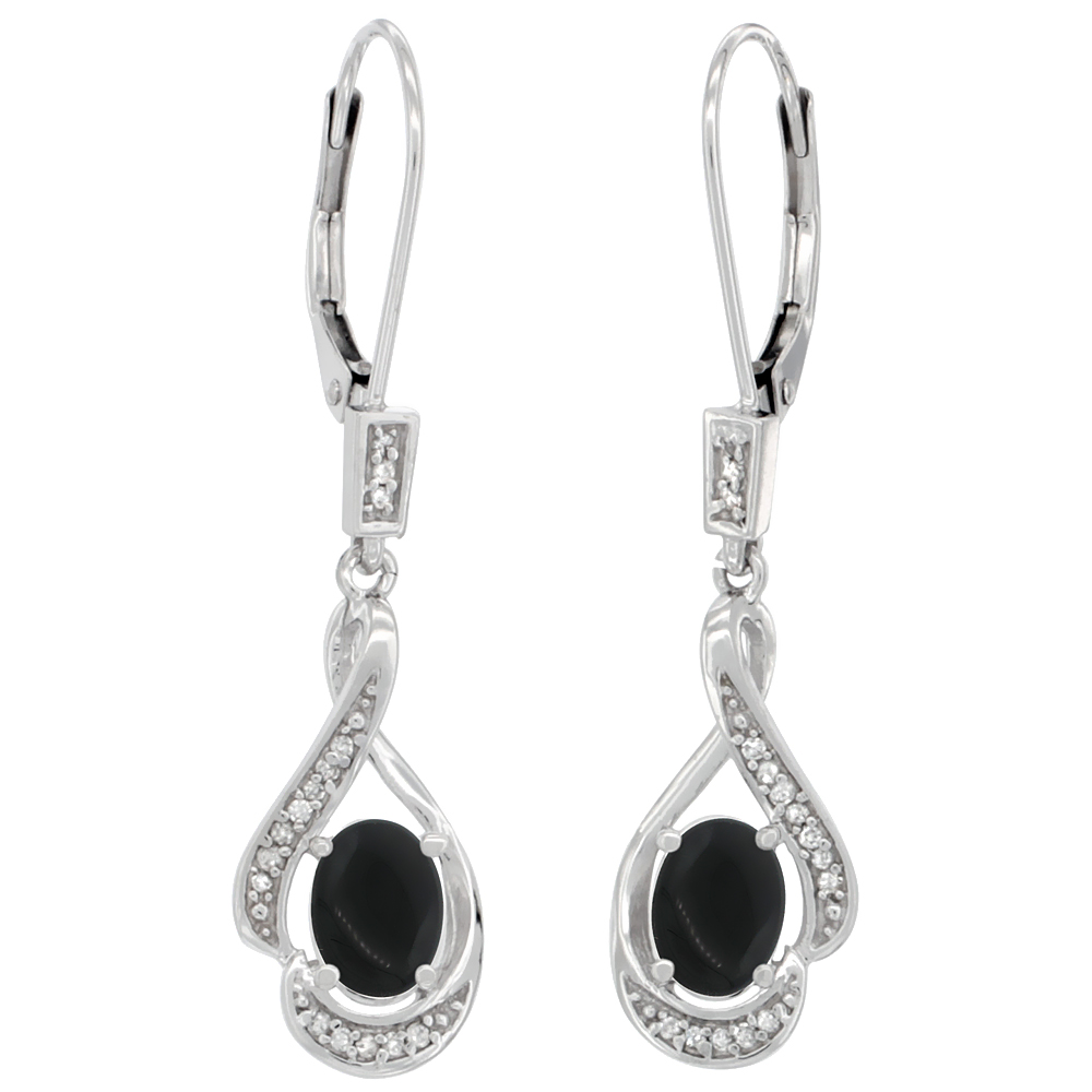 14K White Gold 0.13 cttw Diamond Natural Black Onyx Leverback Earrings Oval 7x5 mm, 1 7/16 inch long