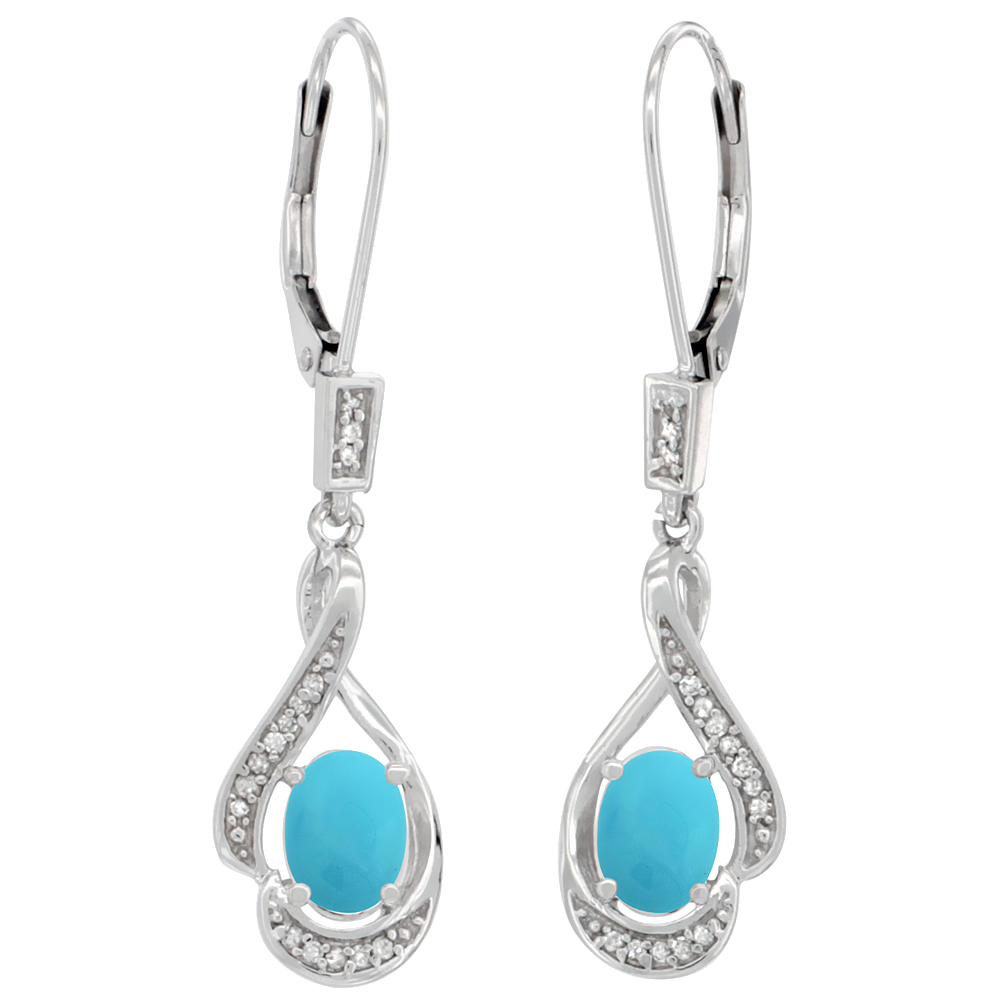 14K White Gold 0.13 cttw Diamond Natural Turquoise Leverback Earrings Oval 7x5 mm, 1 7/16 inch long