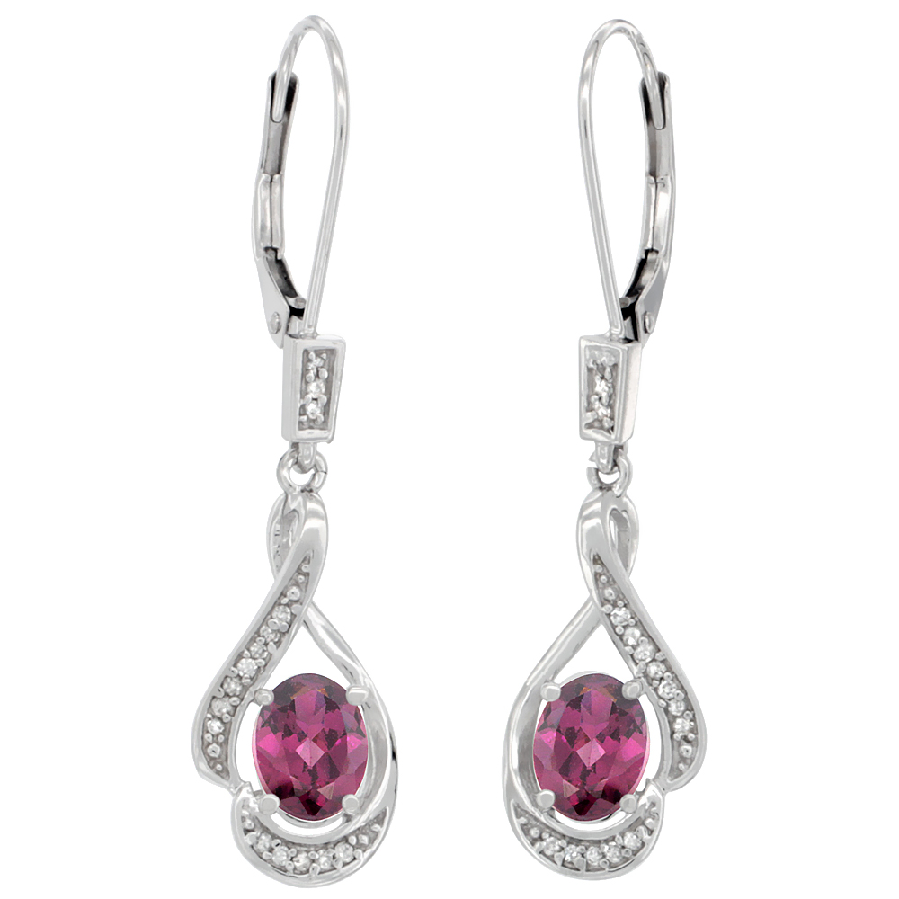 14K White Gold 0.13 cttw Diamond Natural Rhodolite Leverback Earrings Oval 7x5 mm, 1 7/16 inch long