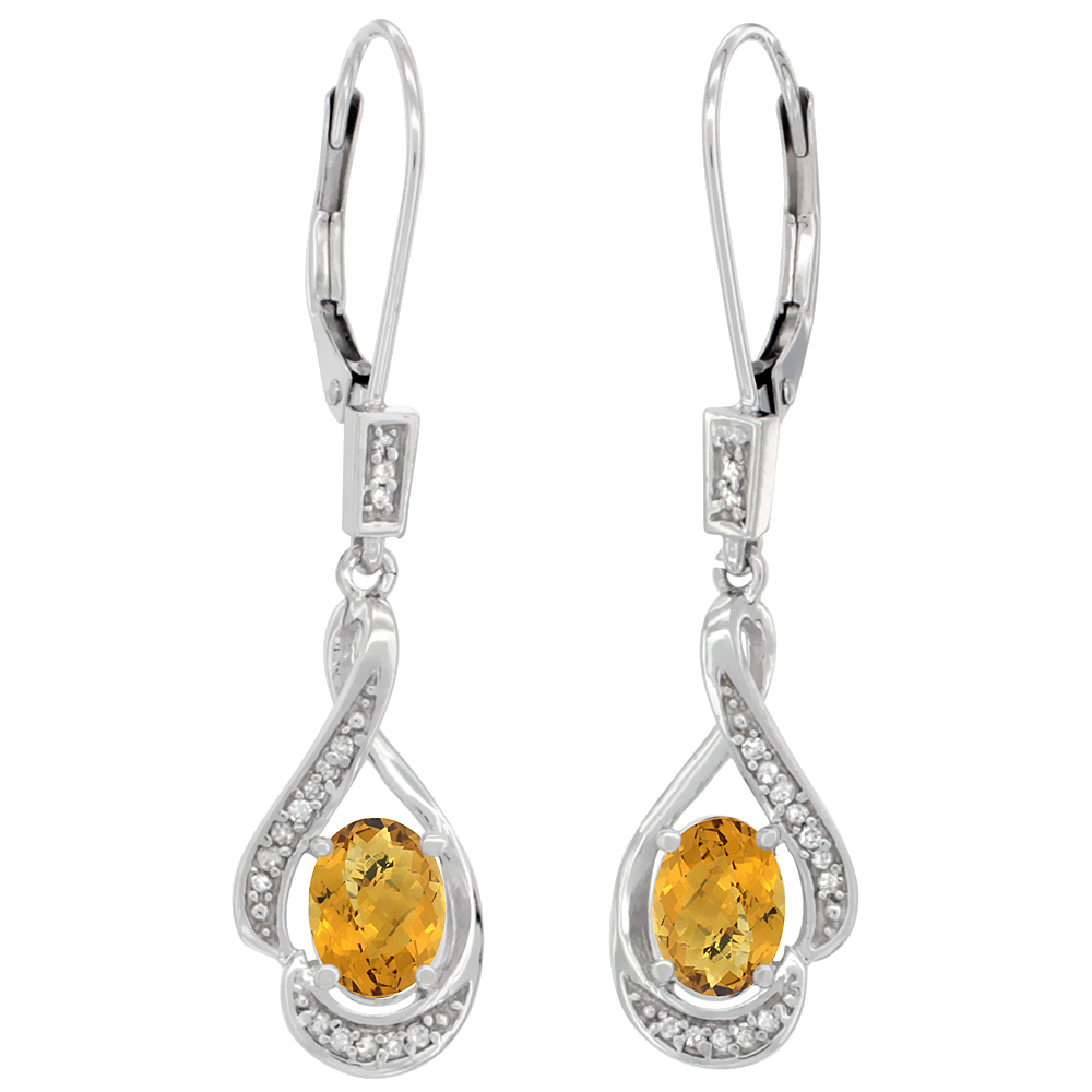14K White Gold Diamond Natural Whisky Quartz Leverback Earrings Oval 7x5 mm, 1 7/16 inch long