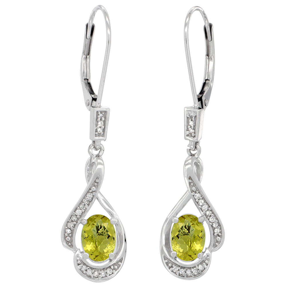 14K White Gold Diamond Natural Lemon Quartz Leverback Earrings Oval 7x5 mm, 1 7/16 inch long