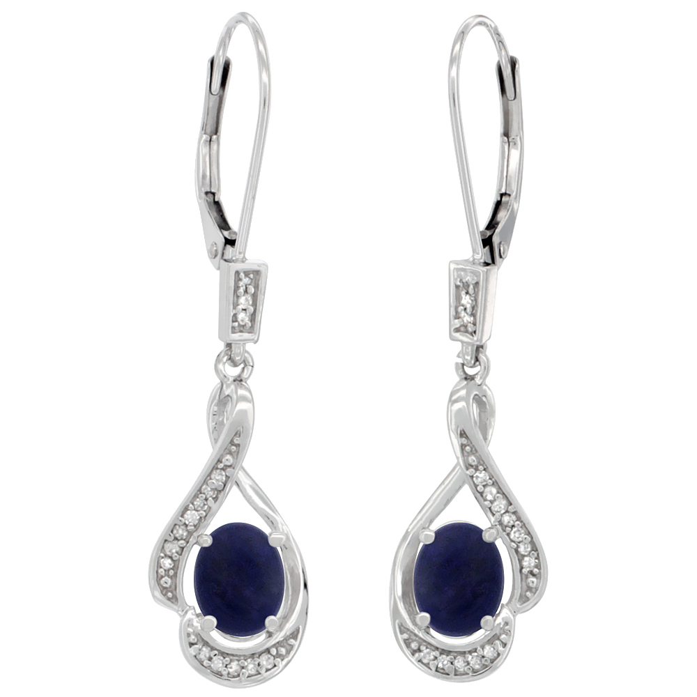 14K White Gold 0.13 cttw Diamond Natural Lapis Leverback Earrings Oval 7x5 mm, 1 7/16 inch long