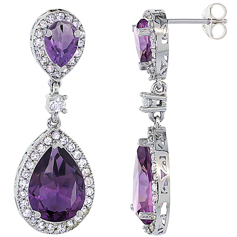 14K White Gold Natural Amethyst Teardrop Earrings White Sapphire & Diamond
