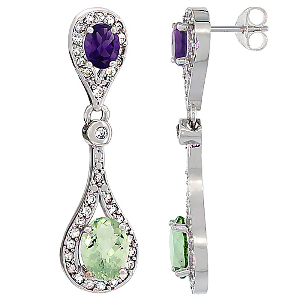 14K White Gold Natural Green Amethyst & Amethyst Oval Dangling Earrings White Sapphire & Diamond Accents, 1 3/8 inches long