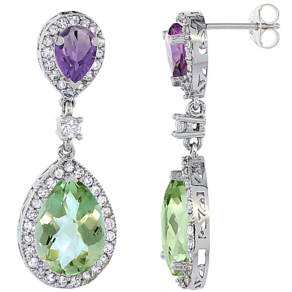 14K White Gold Natural Green & Purple Amethysts Teardrop Earrings White Sapphire & Diamond
