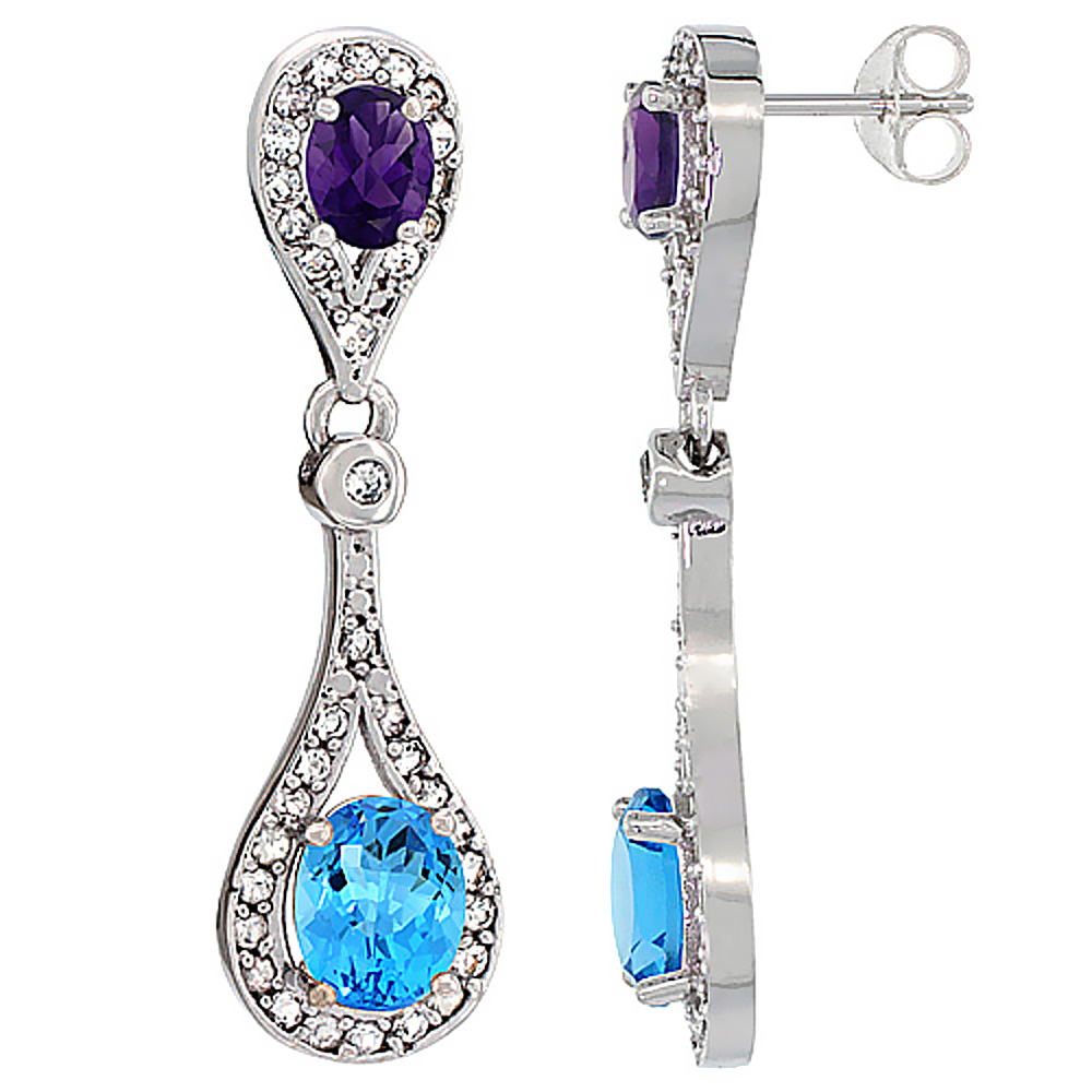 14K White Gold Natural Swiss Blue Topaz & Amethyst Oval Dangling Earrings White Sapphire & Diamond Accents, 1 3/8 inches long