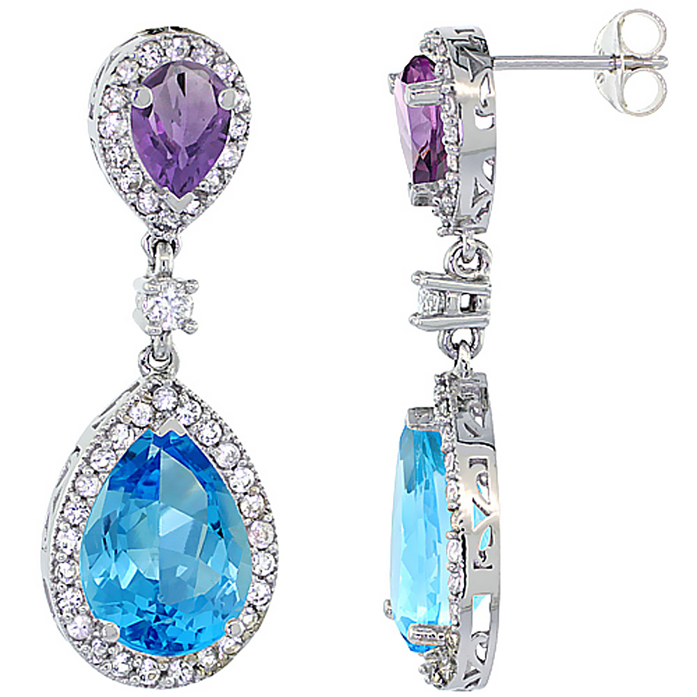 14K White Gold Natural Swiss Blue Topaz & Amethyst Teardrop Earrings White Sapphire & Diamond