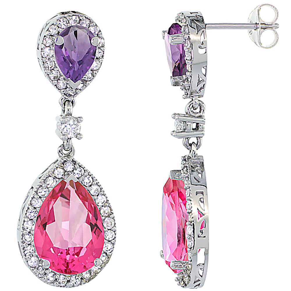 14K White Gold Natural Pink Topaz & Amethyst Teardrop Earrings White Sapphire & Diamond