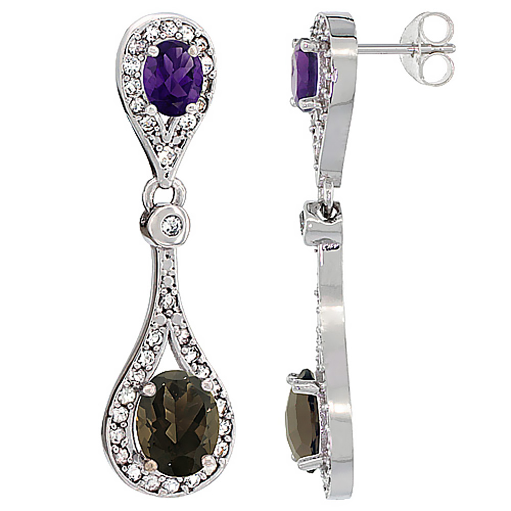 14K White Gold Natural Smoky Topaz & Amethyst Oval Dangling Earrings White Sapphire & Diamond Accents, 1 3/8 inches long