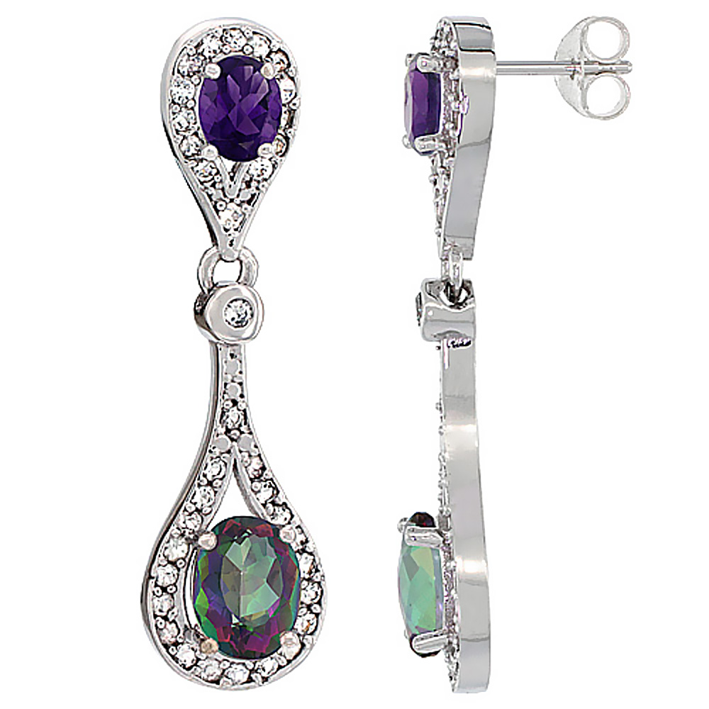 14K White Gold Natural Mystic Topaz & Amethyst Oval Dangling Earrings White Sapphire & Diamond Accents, 1 3/8 inches long