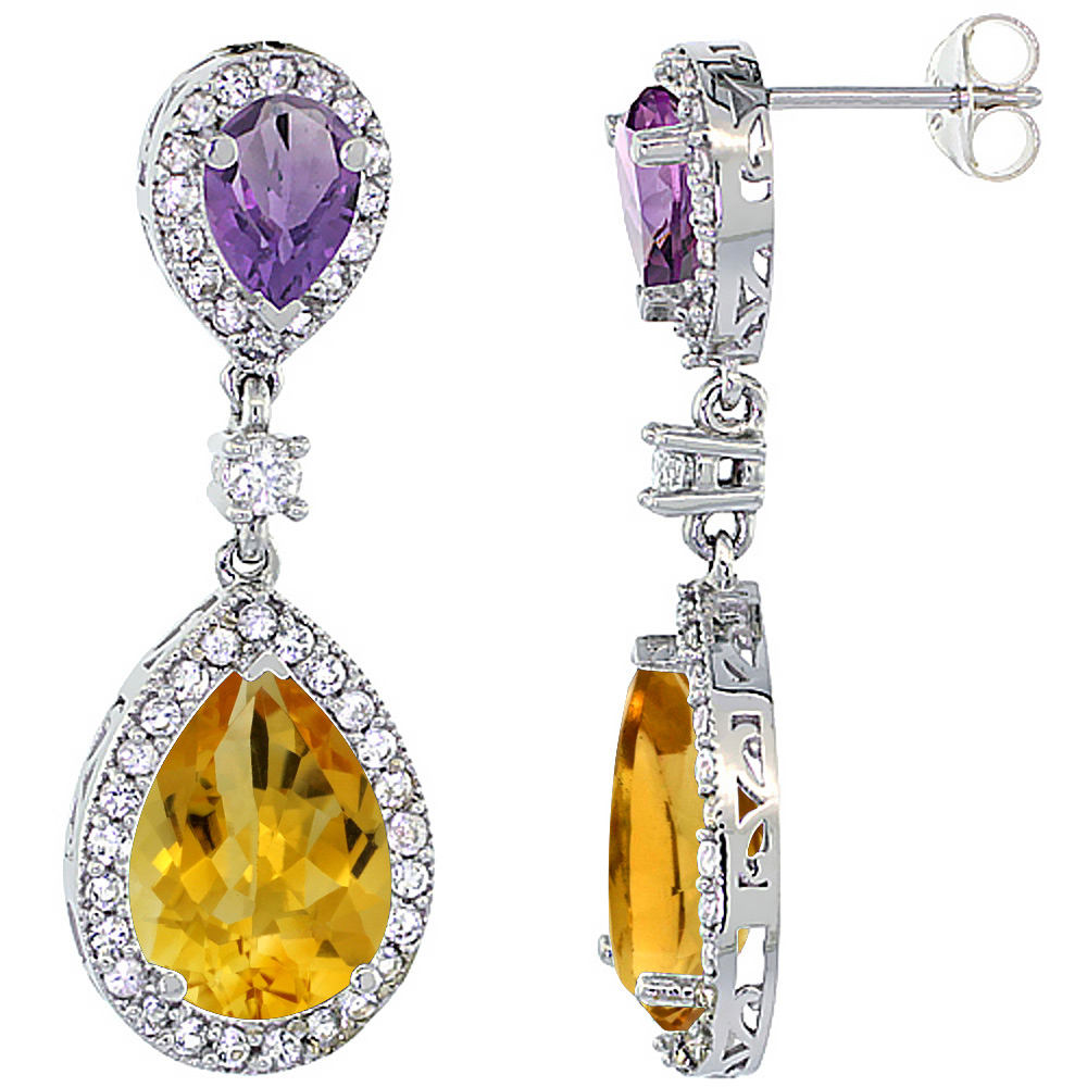 14K White Gold Natural Citrine & Amethyst Teardrop Earrings White Sapphire & Diamond