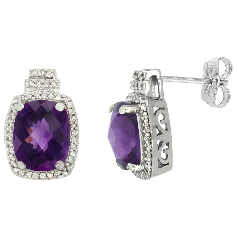 10K White Gold Diamond Natural Amethyst Earrings Octagon Cushion 8x6 mm