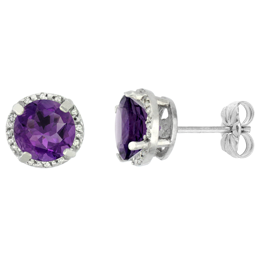 10K White Gold Diamond Natural Amethyst Earrings Round 7x7 mm