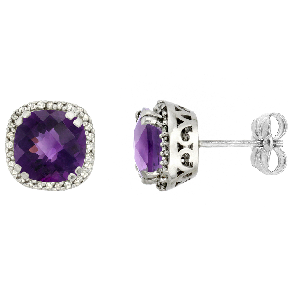 10K White Gold Diamond Natural Amethyst Earrings Cushion 7x7 mm