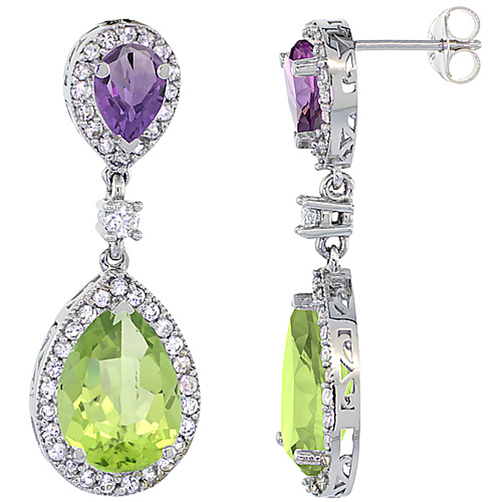 14K White Gold Natural Peridot & Amethyst Teardrop Earrings White Sapphire & Diamond