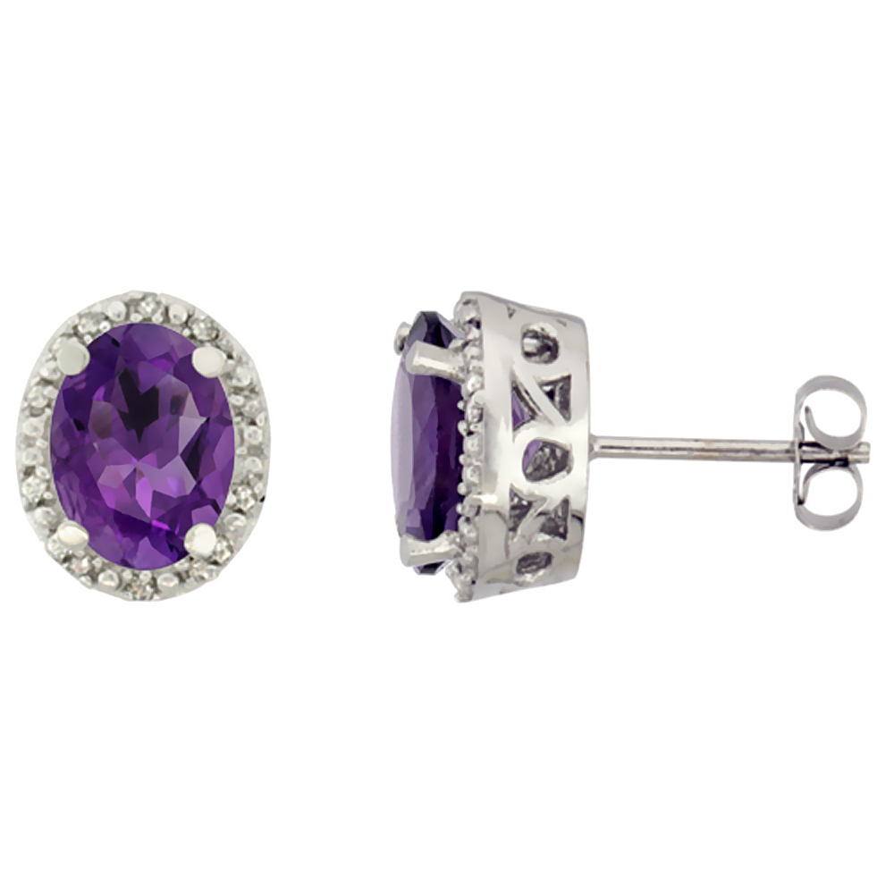 10K White Gold Genuine Amethyst Stud Earrings Diamond Halo Oval 8x6 mm