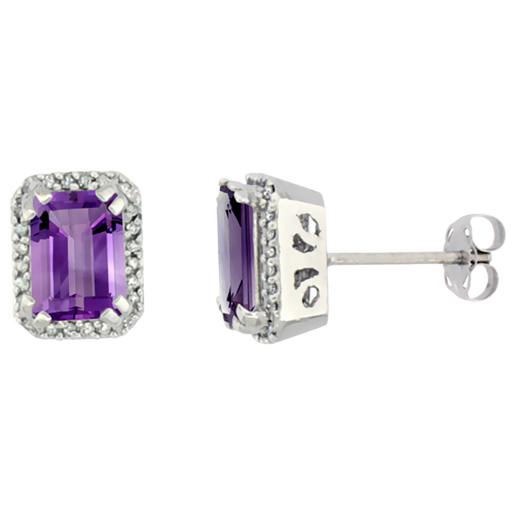 10K White Gold Diamond Natural Amethyst Earrings Octagon 7x5 mm