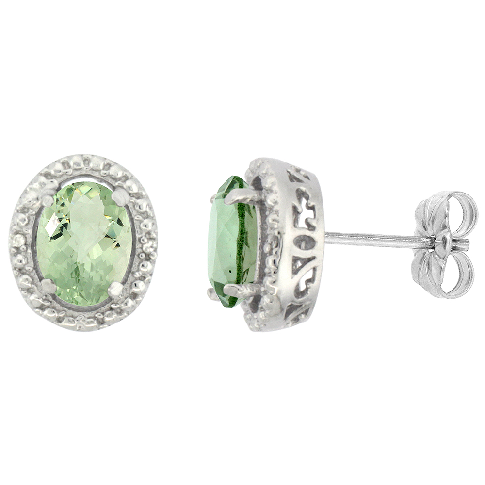 10K White Gold 0.01 cttw Diamond Natural Green Amethyst Post Earrings Oval 7x5 mm