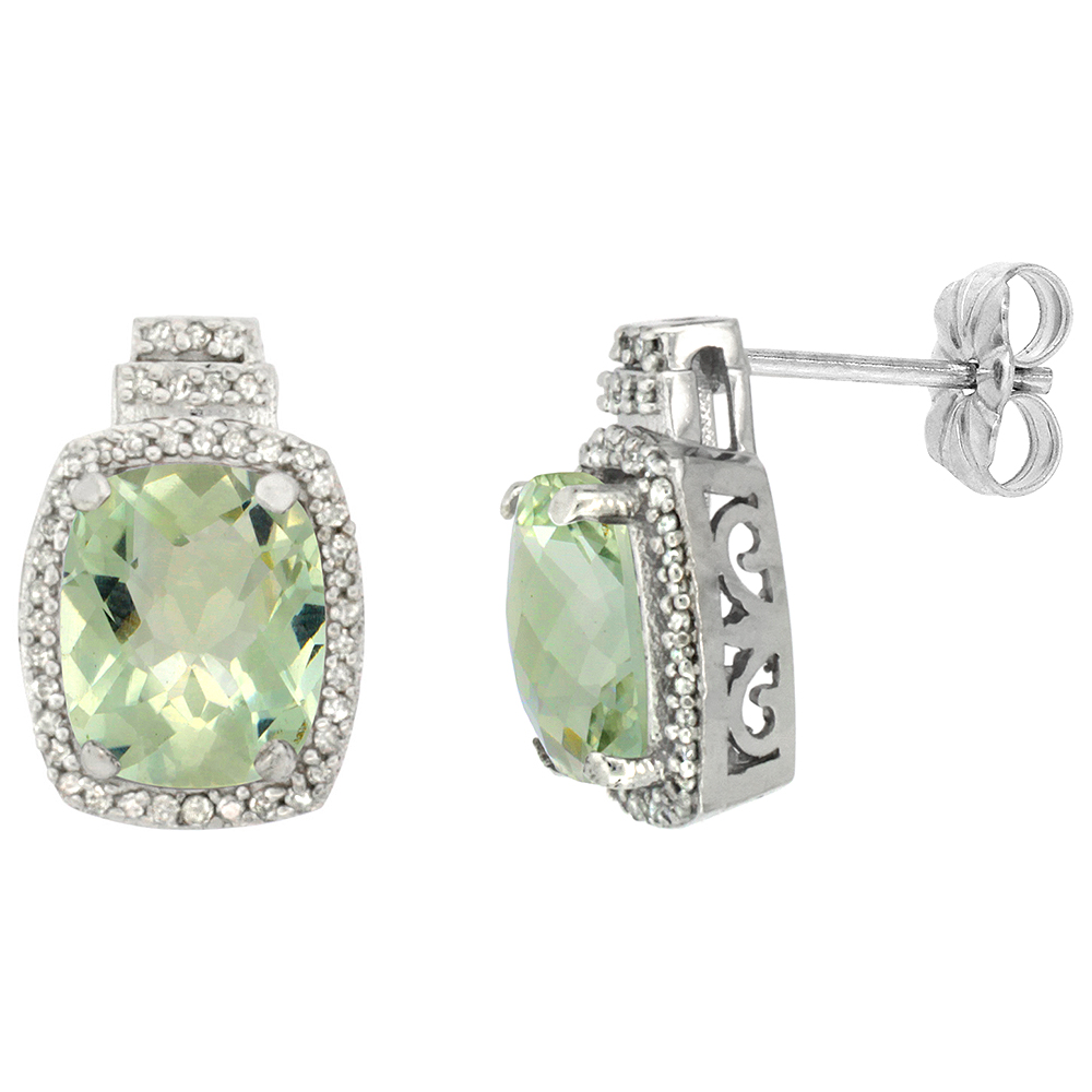 10K White Gold Diamond Natural Green Amethyst Earrings Octagon Cushion 8x6 mm