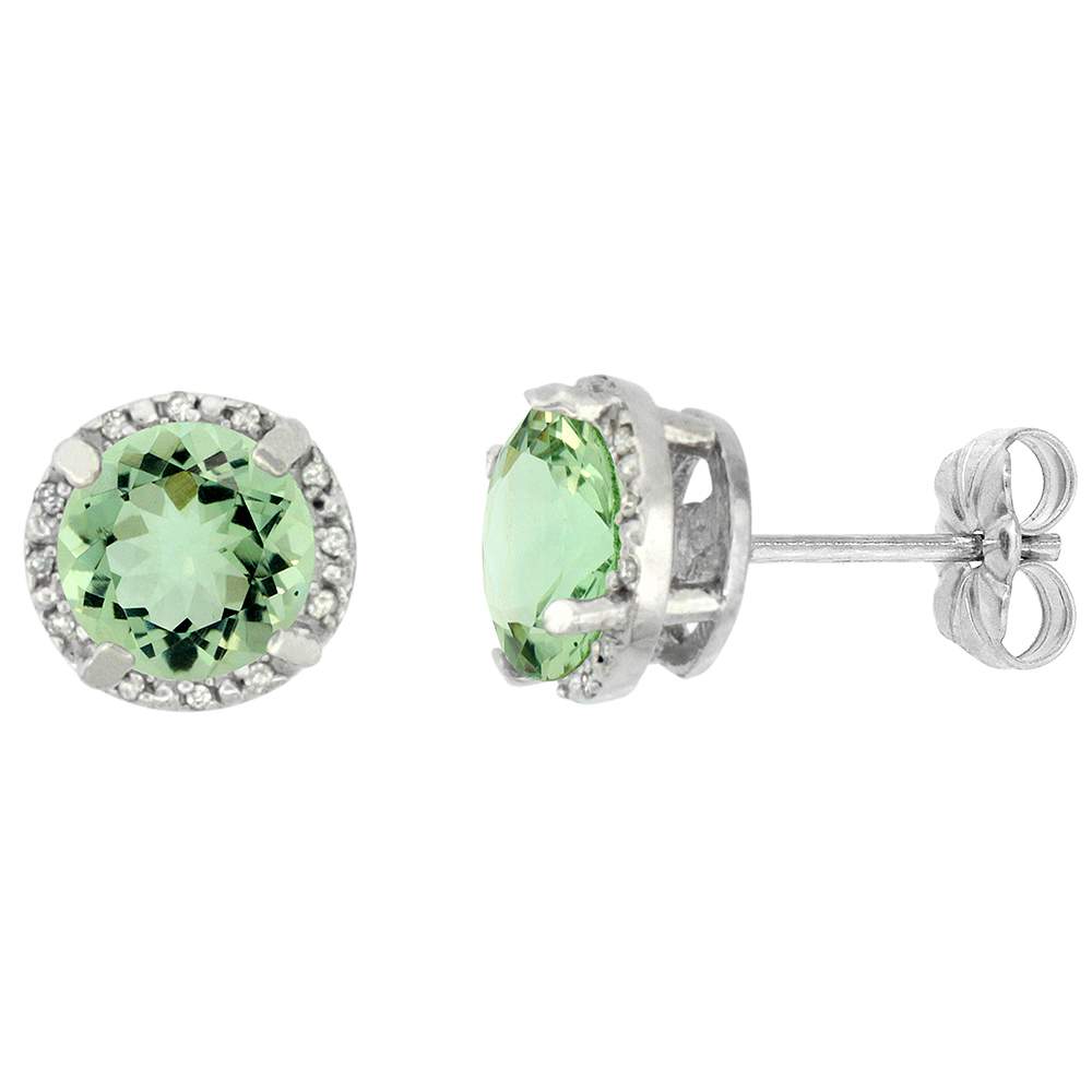 10K White Gold Diamond Natural Green Amethyst Earrings Round 7x7 mm