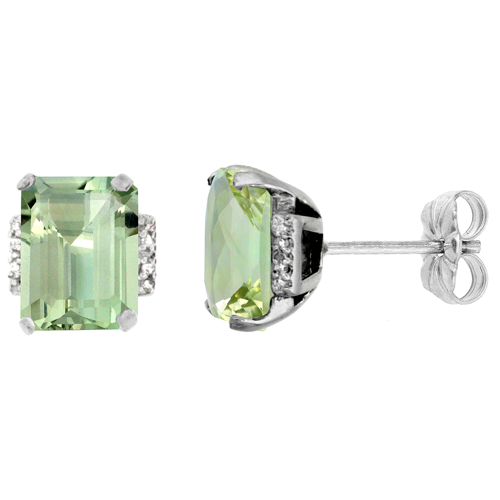 10K White Gold 0.02 cttw Diamond Natural Green Amethyst Earrings Octagon 8x6 mm