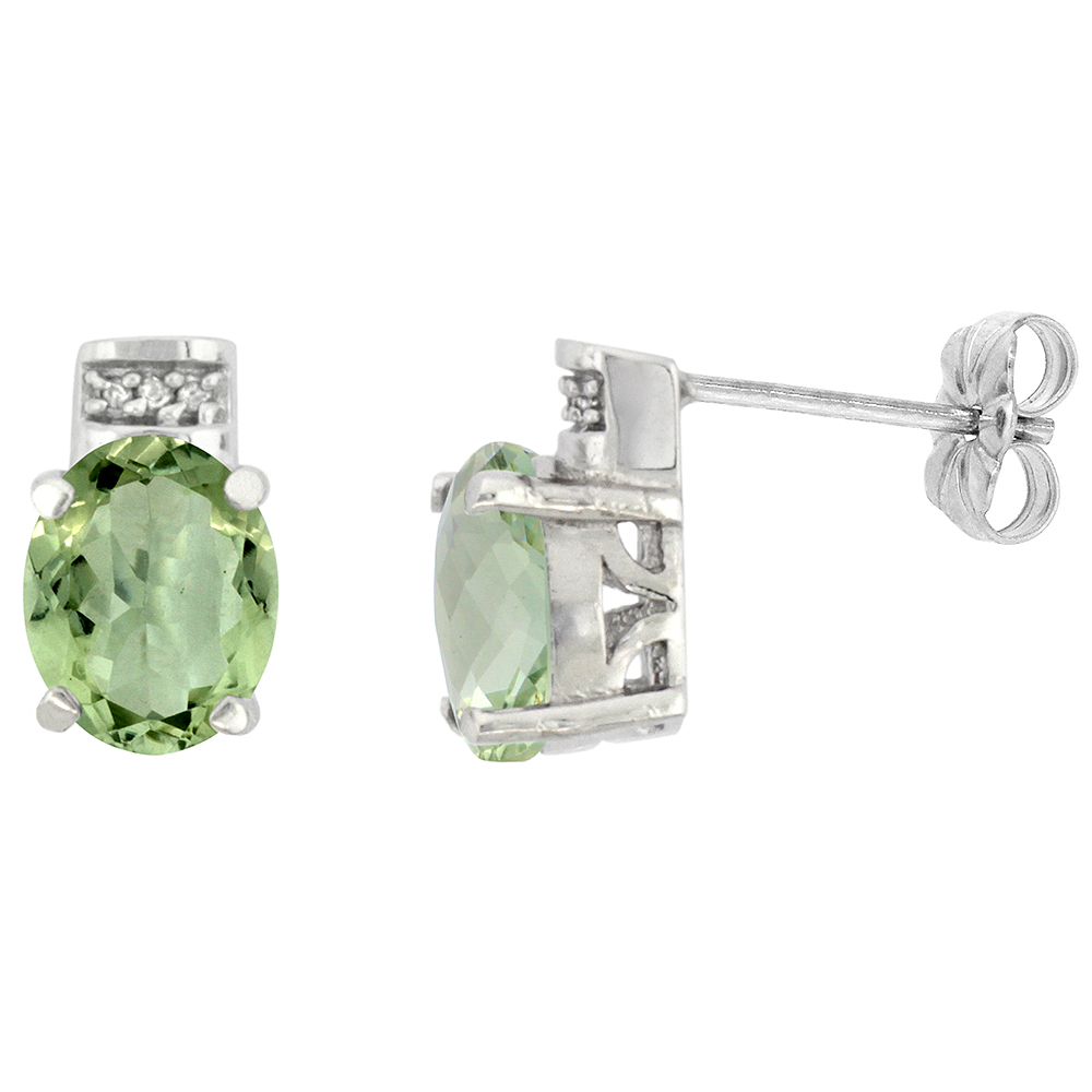 10K White Gold Diamond Natural Green Amethyst Earrings Oval 8x6 mm