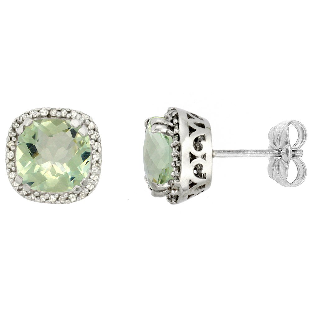 10k White Gold Diamond Halo Natural Green Amethyst Stud Earrings Cushion Shaped 7x7 mm