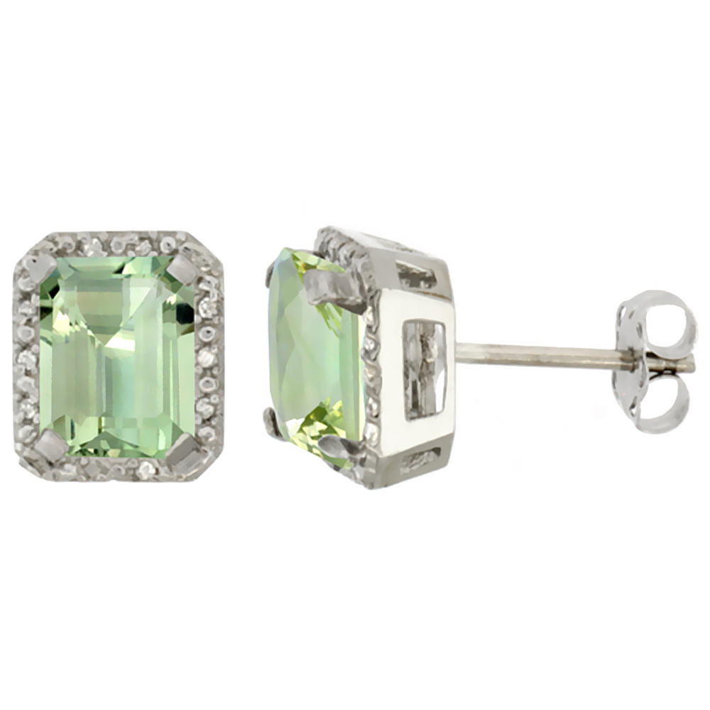 10K White Gold Diamond Natural Green Amethyst Earrings Octagon 8x6 mm