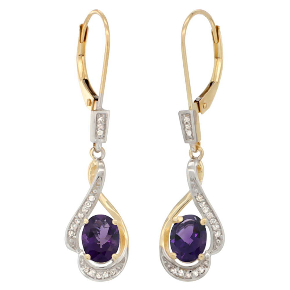 14K Yellow Gold Natural Amethyst Oval 7x5 mm Lever Back Earrings, 1 7/16 inch long