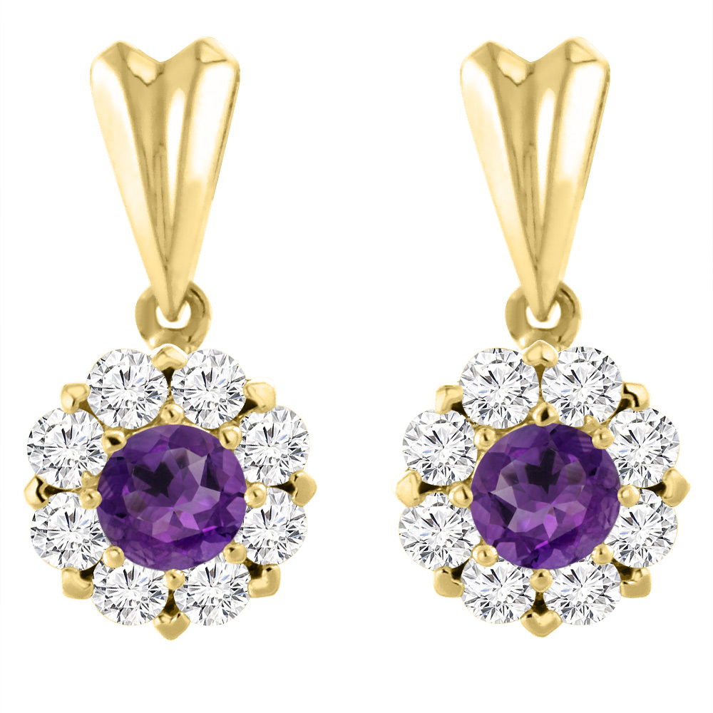14K Yellow Gold Natural Amethyst Earrings with Diamond Halo Round 4 mm