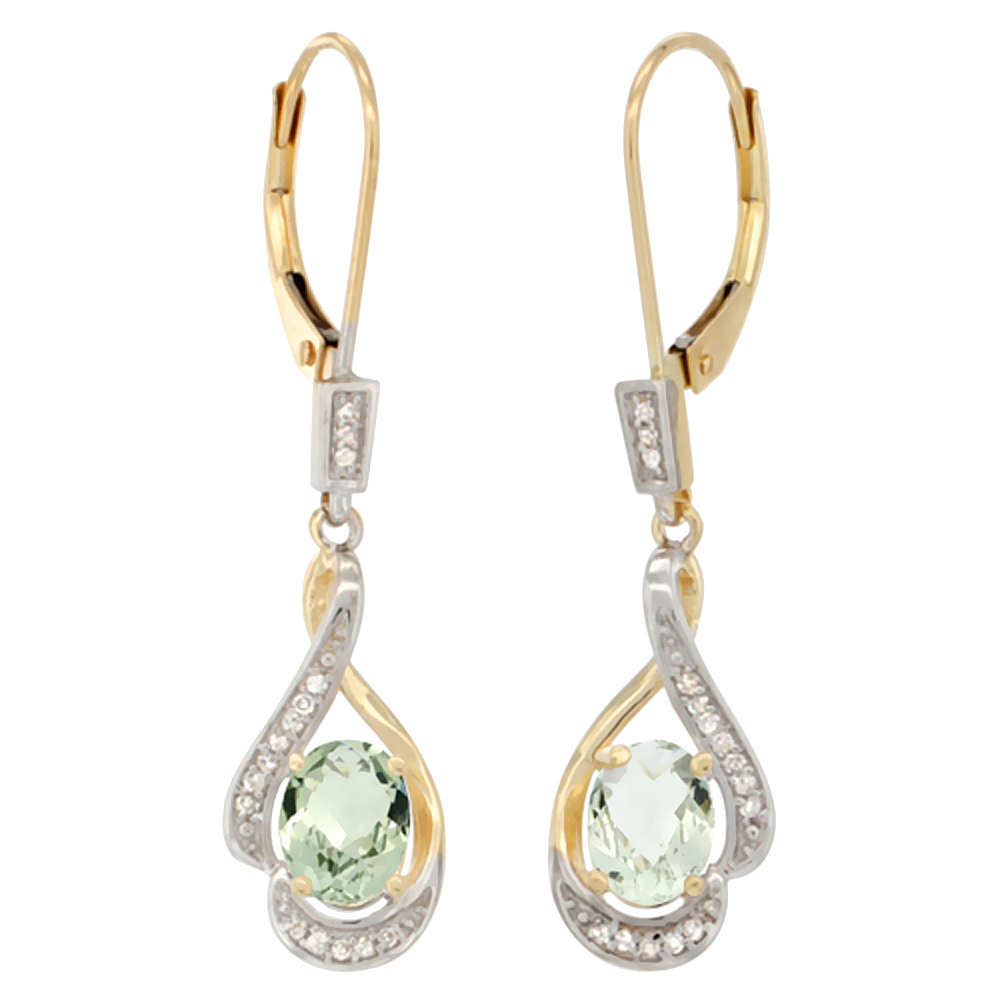 14K Yellow Gold Natural Green Amethyst Oval 7x5 mm Lever Back Earrings, 1 7/16 inch long