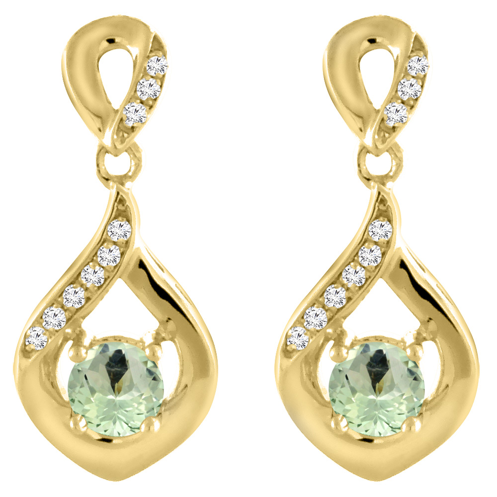 14K Yellow Gold Natural Green Amethyst Earrings with Diamond Accents Round 4 mm