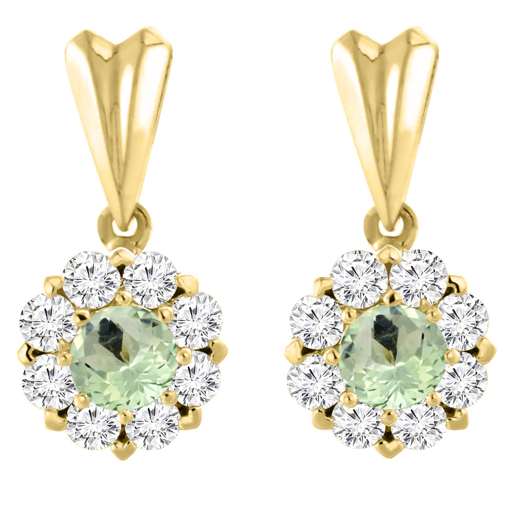 14K Yellow Gold Natural Green Amethyst Earrings with Diamond Halo Round 4 mm