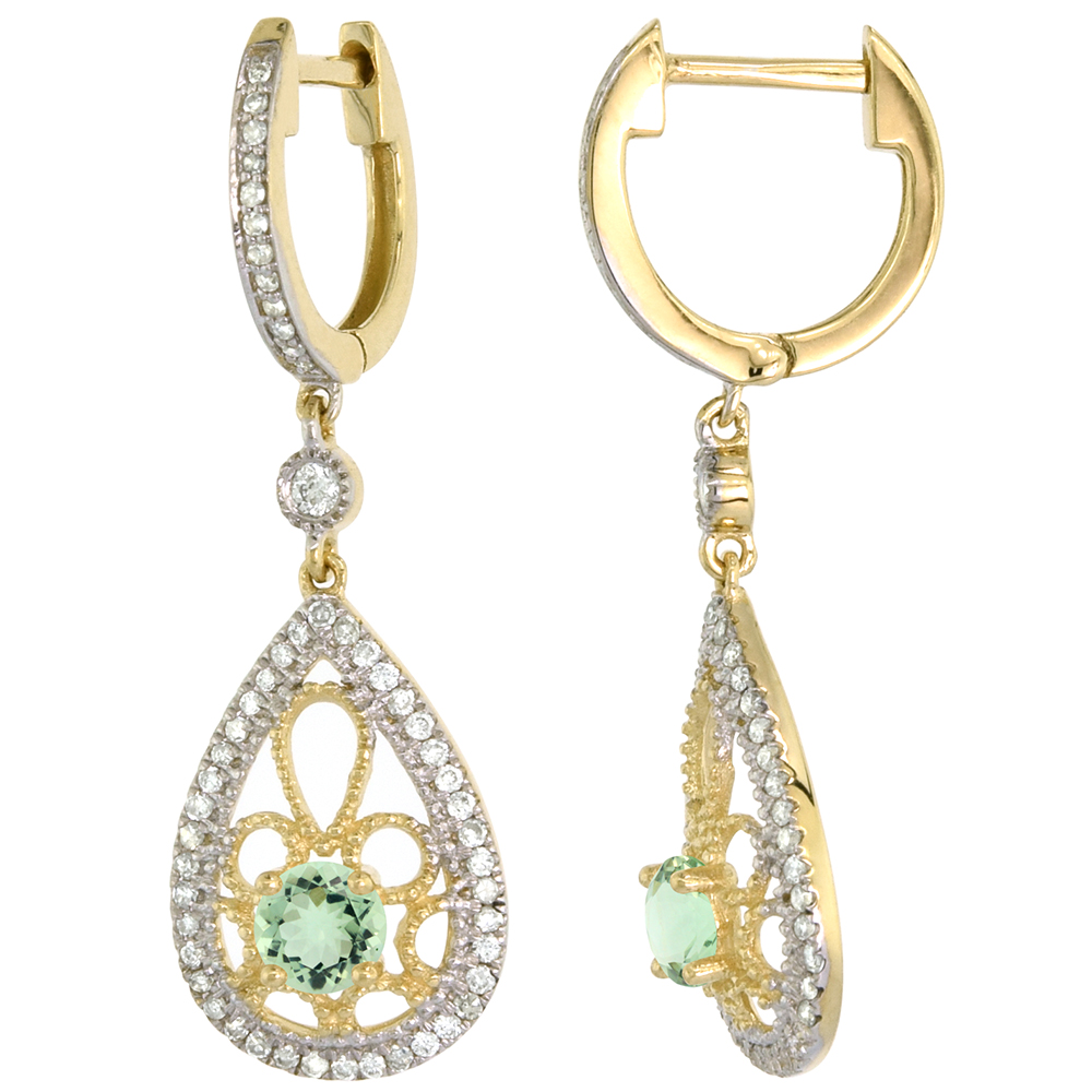 14k Yellow Gold Natural Green Amethyst Teardrop Earrings 3.5mm Round with 0.47 cttw Diamonds 3/4 inch long