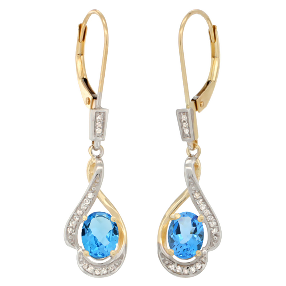 14K Yellow Gold Natural Swiss Blue Topaz Oval 7x5 mm Lever Back Earrings, 1 7/16 inch long
