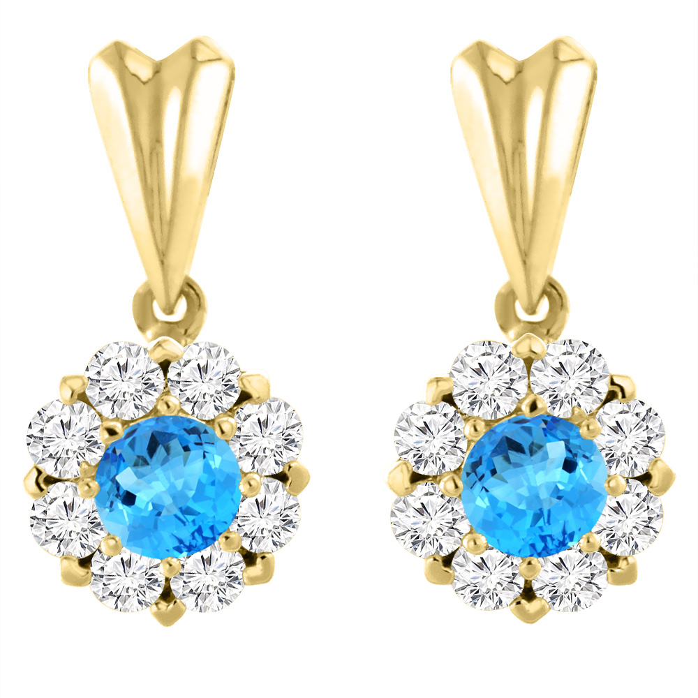 14k Yellow Gold Natural Swiss Blue Topaz Earrings With Diamond Halo Round 4 Mm