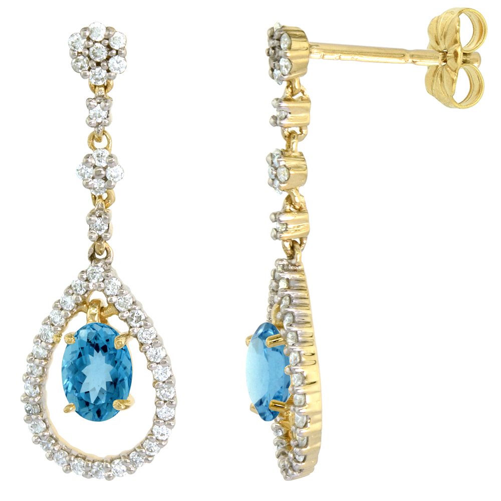 14k Gold Diamond Genuine Swiss Blue Topaz Dangle Earrings Teardrop 6x4 Oval 1 inch long