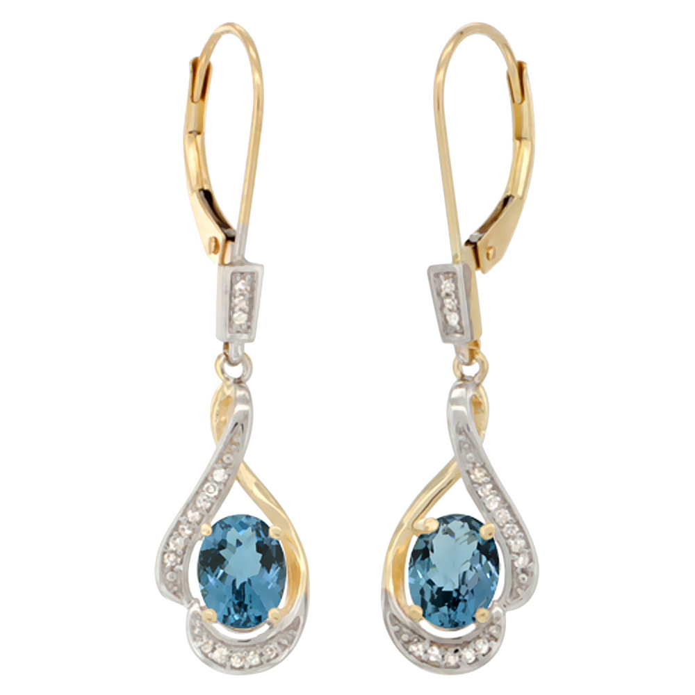 14K Yellow Gold Natural London Blue Topaz Oval 7x5 mm Lever Back Earrings, 1 7/16 inch long