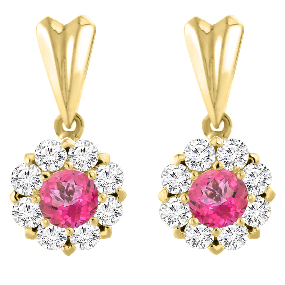 14K Yellow Gold Natural Pink Topaz Earrings with Diamond Halo Round 4 mm
