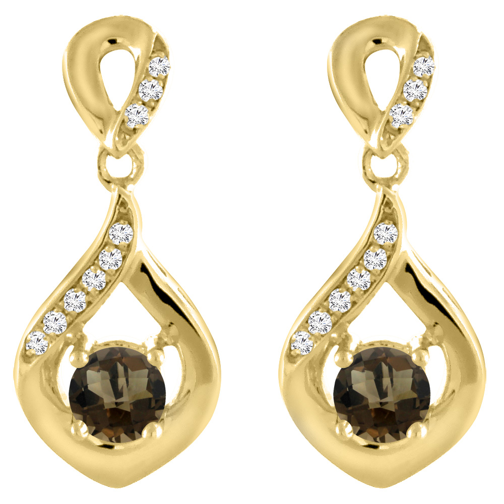 14K Yellow Gold Natural Smoky Topaz Earrings with Diamond Accents Round 4 mm