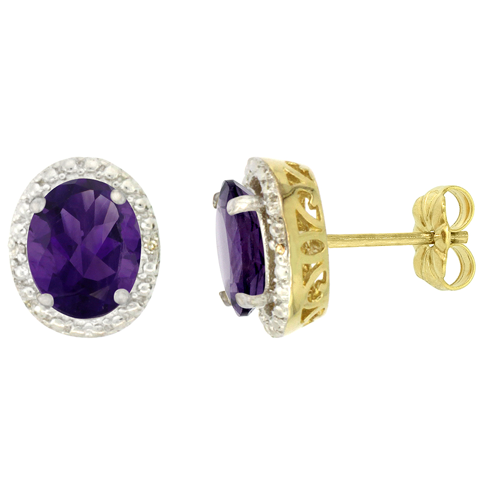 10K Yellow Gold 0.01 cttw Diamond Natural Amethyst Post Earrings Oval 7x5 mm