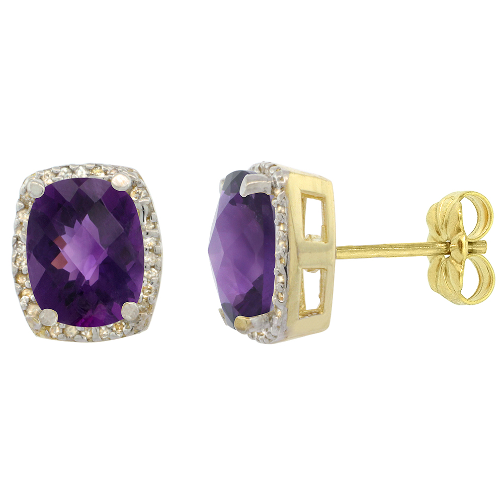 10K Yellow Gold 0.29 cttw Diamond Natural Amethyst Earrings Octagon Cushion 8x6 mm