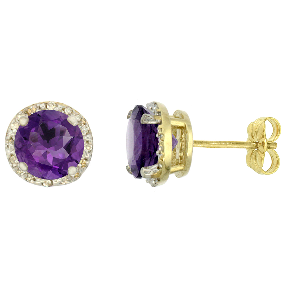 10K Yellow Gold 0.06 cttw Diamond Natural Amethyst Earrings Round 7x7 mm