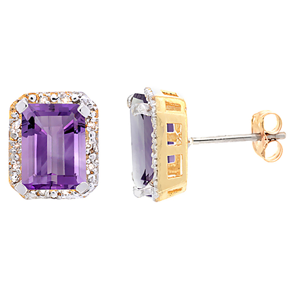 10K Yellow Gold Diamond Natural Amethyst Earrings Octagon 8x6 mm