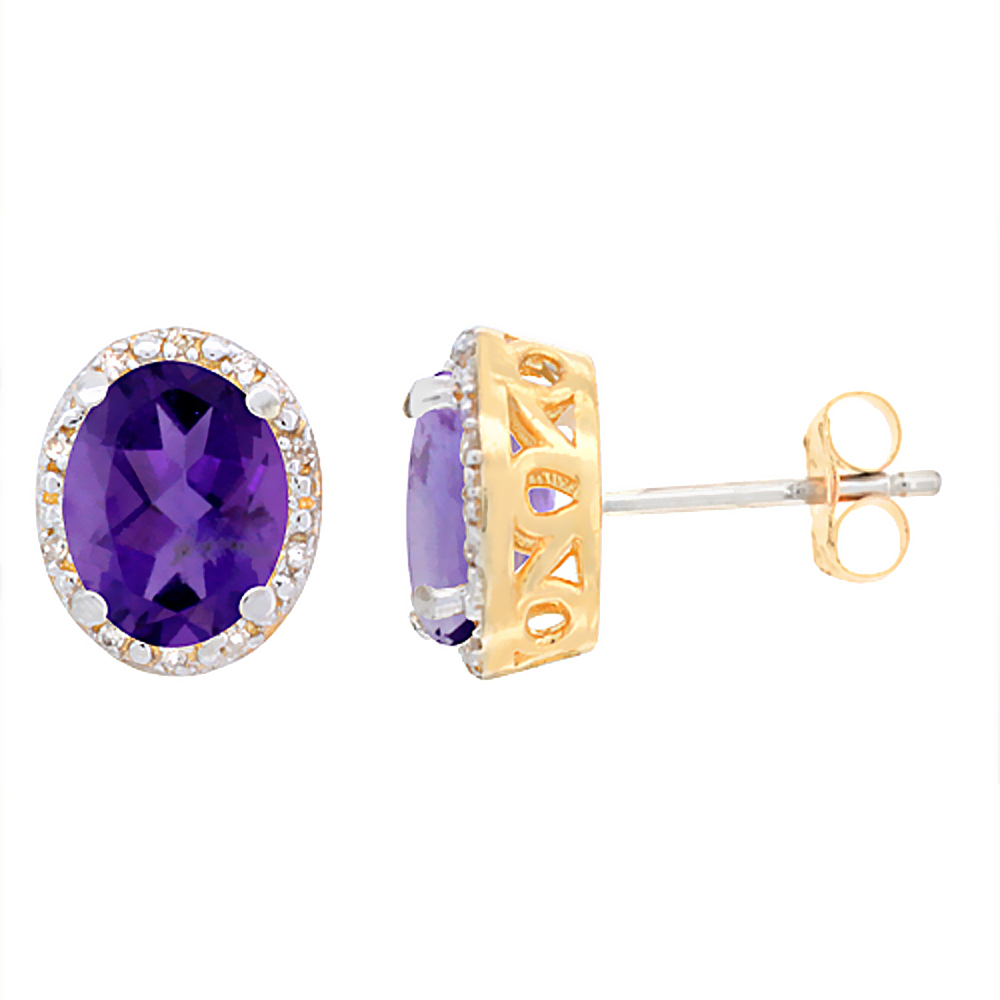 10K Yellow Gold Genuine Amethyst Stud Earrings Diamond Halo Oval 8x6 mm