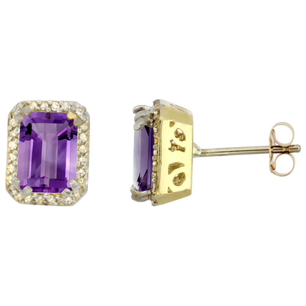 10K Yellow Gold Diamond Natural Amethyst Earrings Octagon 7x5 mm
