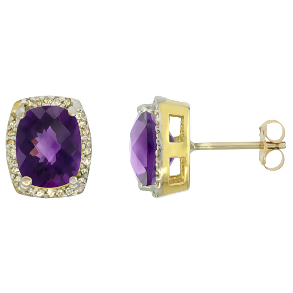 10K Yellow Gold Diamond Natural Amethyst Earrings Octagon Cushion 8x6 mm