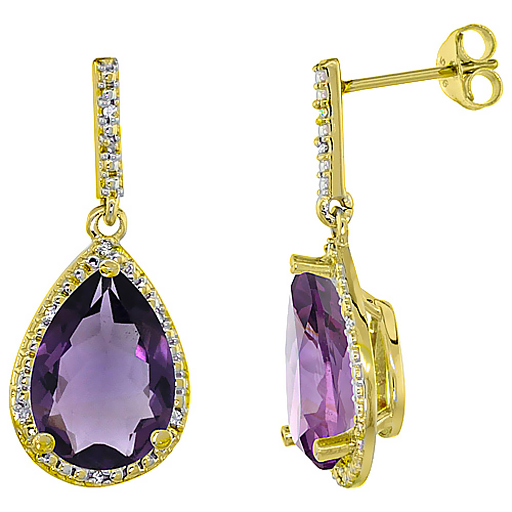 10K Yellow Gold Diamond Natural Amethyst Earrings Pear Shape 12x8 mm